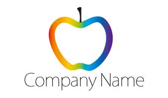 りんご、虹色、グラデーション、ポップ、キュート、果物、フルーツ