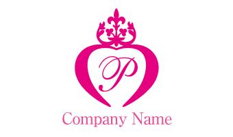 ラブ、王冠、クラウン、ピンク、P文字、女性的、結婚、美容
